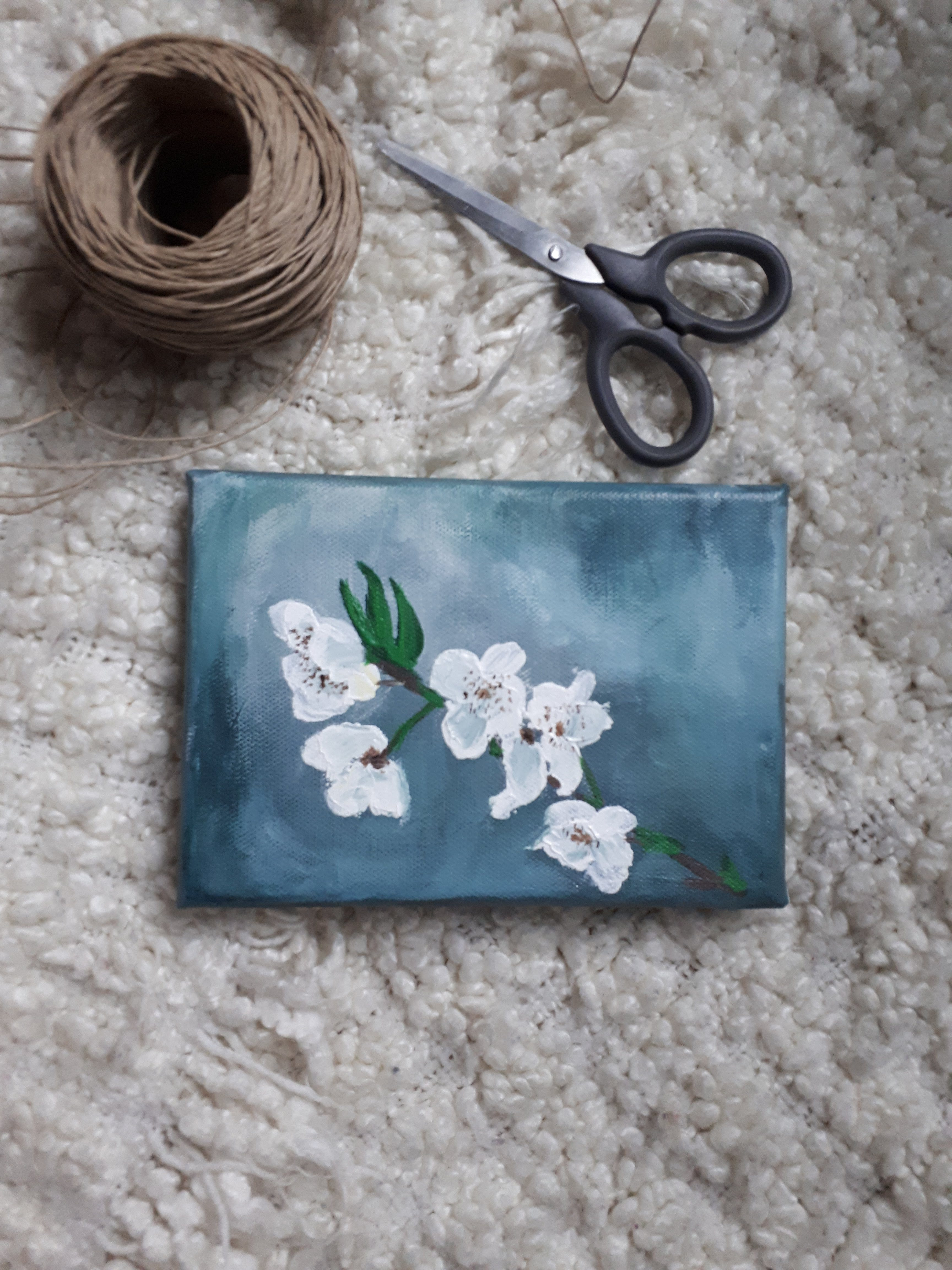 abstract impressionist Original Painting Acrylic on Fine Art Paper White Cherry Blossoms flower art botanical paintings Home Decor Wall Art