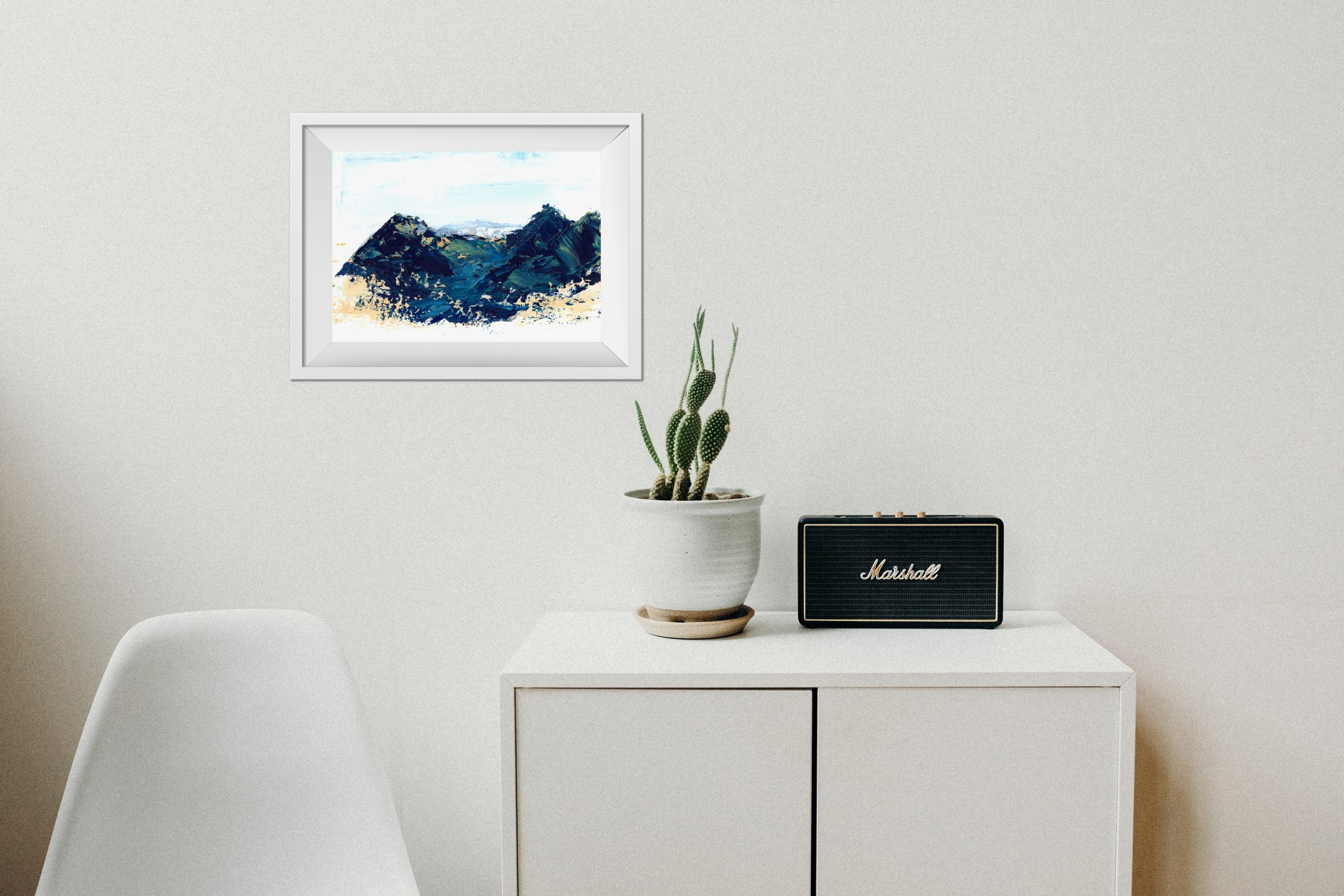 abstract impressionism landscape painting original art work blue and gold yellow mountain painting wall art home decor wall decor