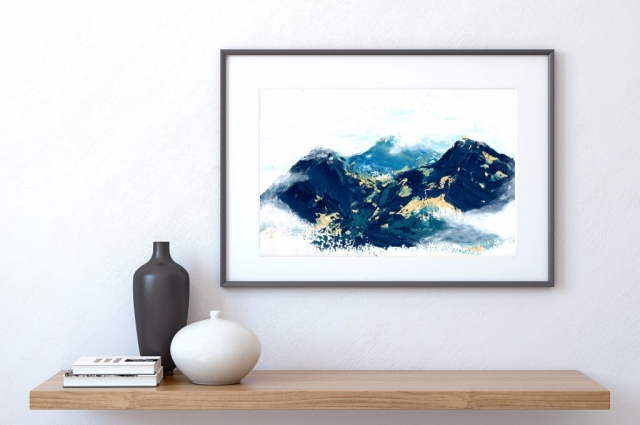 Abstract Landscape Original Painting Acrylic on Fine Art Paper Blue Mountains Home Decor Wall Art