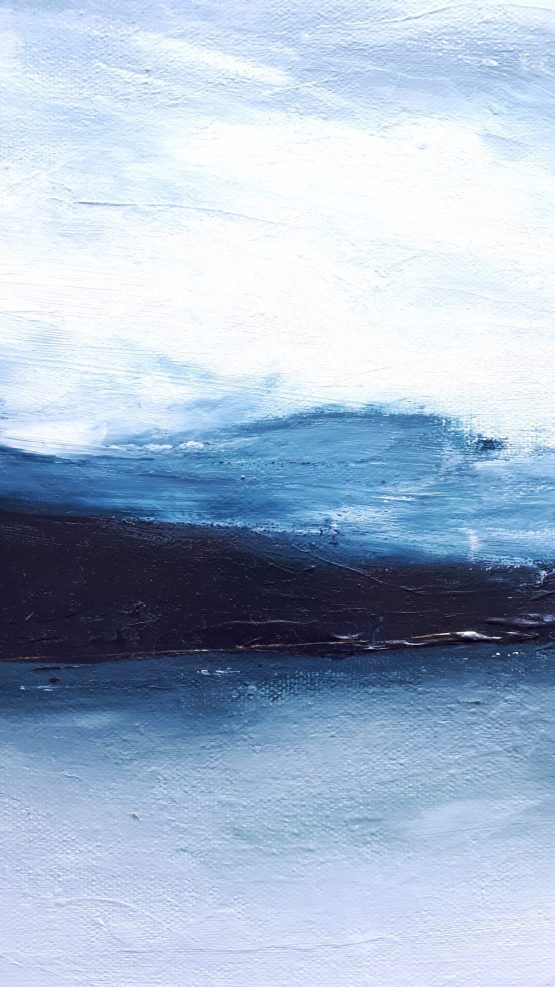 Up close Details of Blue water and mountains blending into a grey sky on a fine art landscape print by Melissa Critchlow