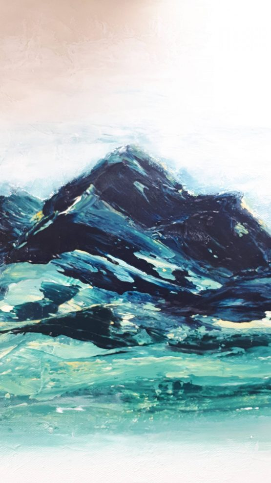 Detail of blue, green abstract mountains against a white sky large art print