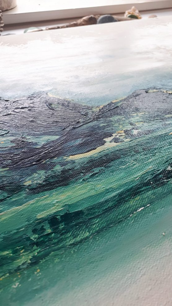 Detail of highly textured blue, green abstract mountains against a white sky large art print