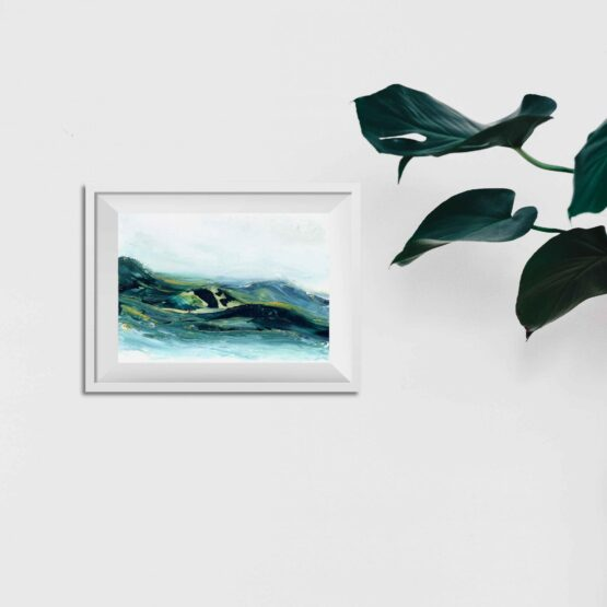 Abstract Mountain Landscape Painting with brlue and green marbled mountains against a white sky and white water, hung on a white wall above a green potted plant