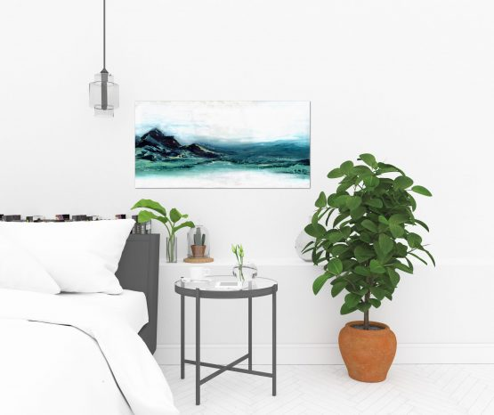 Textured blue, green abstract mountains against a white sky large art print in a white bedroom with a potted fig