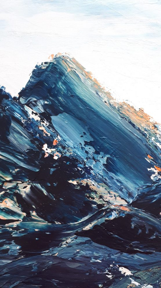 Up close detail of the original painting with the dark blue and orange marbled paint swipes across the canvas Fine Art Abstract Landscape Print