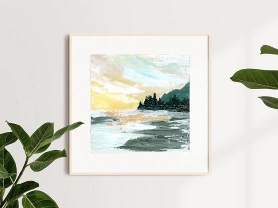 sunny west coast landscape with mountains and forest against the yellow sky and wild ocean framed in natural wood on a white wall with indoor plants