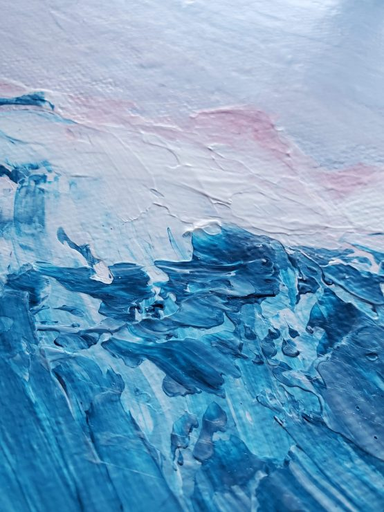 Texture Detail 1 of large landscape painting with textured flowing blue mountains against a lavender and pink sunset sky