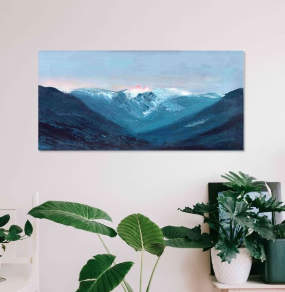 Blue Mountain range of the lions from vancouver bc canada against a lavendar purple and pink sunset sky highly textured acrylic art print on white wall above potted plant in white basket and white chair with a white table and potted plants on it
